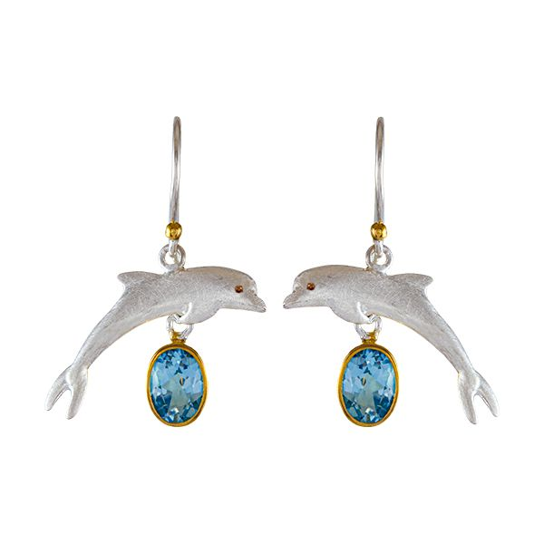 silver dolphin earrings with blue topaz Enhancery Jewelers San Diego, CA