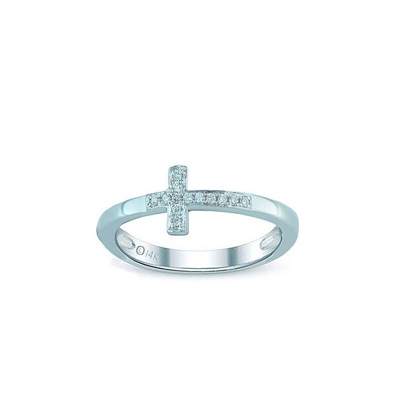 WHITE GOLD CROSS RING Erickson Jewelers Iron Mountain, MI