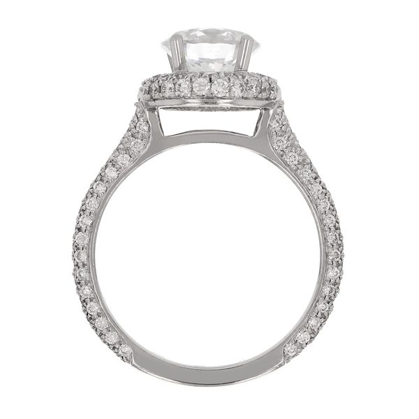 Platinum Diamond Halo Engagement Ring Image 3 Fox Fine Jewelry Ventura, CA