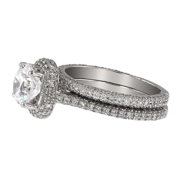 Platinum Diamond Halo Wedding Set Image 2 Fox Fine Jewelry Ventura, CA