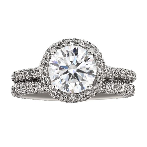 Platinum Diamond Halo Wedding Set Fox Fine Jewelry Ventura, CA