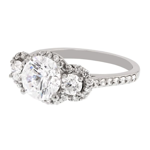 3 Stone Diamond Halo Engagement Ring Image 2 Fox Fine Jewelry Ventura, CA