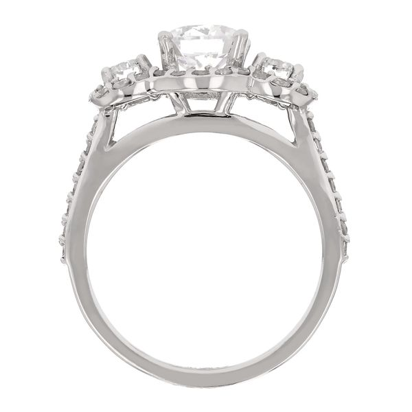 3 Stone Diamond Halo Engagement Ring Image 3 Fox Fine Jewelry Ventura, CA