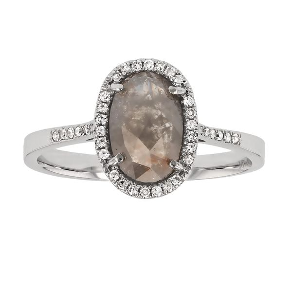 Oval Rosecut Salt & Pepper Diamond Halo Ring Fox Fine Jewelry Ventura, CA