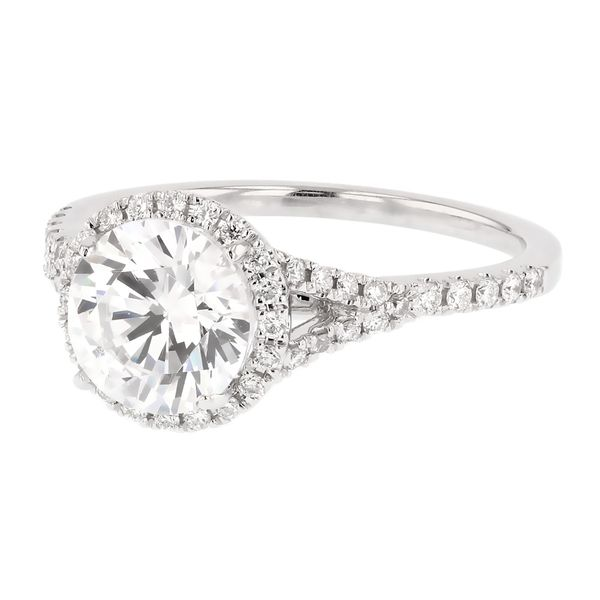 Split Shank Diamond Halo Engagement Ring Image 2 Fox Fine Jewelry Ventura, CA