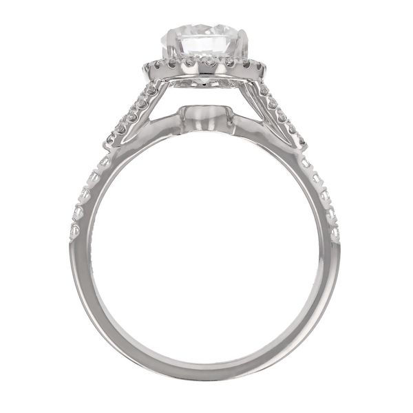 Split Shank Diamond Halo Engagement Ring Image 3 Fox Fine Jewelry Ventura, CA