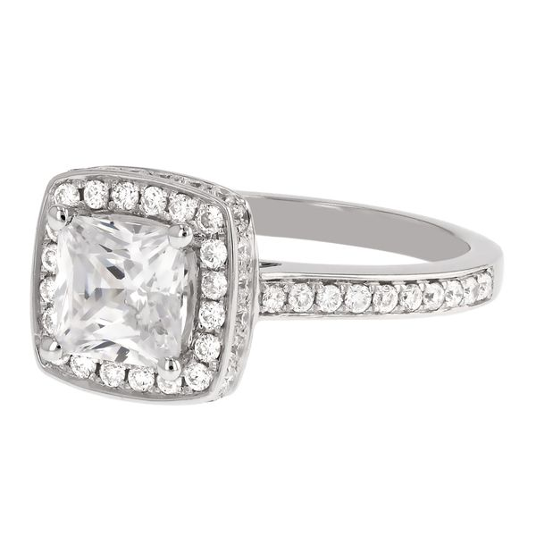 Square Halo Diamond Engagement Ring Image 2 Fox Fine Jewelry Ventura, CA
