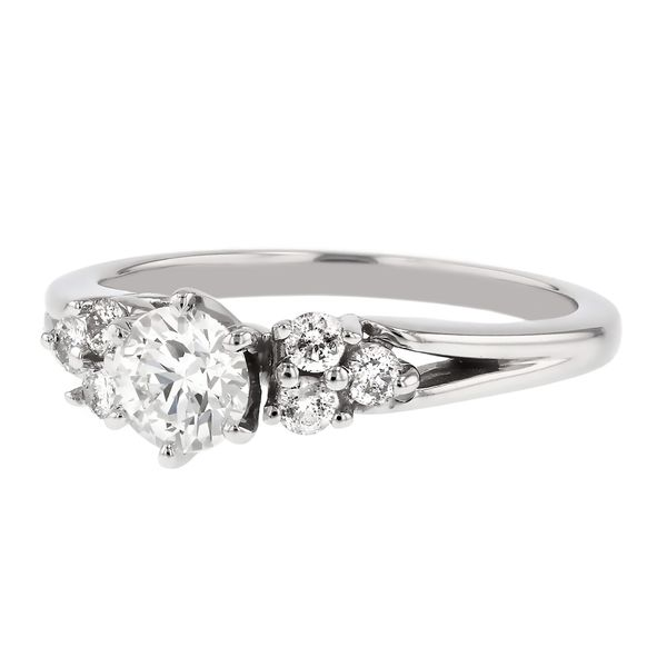 Side Cluster Diamond Engagement Ring Image 2 Fox Fine Jewelry Ventura, CA