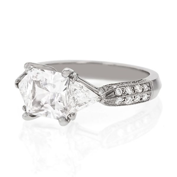 Platinum Princess Cut Diamond Ring Image 2 Fox Fine Jewelry Ventura, CA