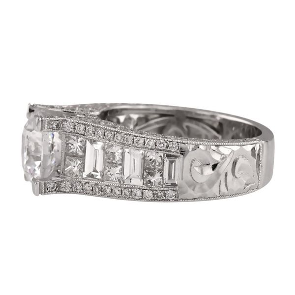 Bold Engraved Princess Cut Diamond Ring Image 2 Fox Fine Jewelry Ventura, CA