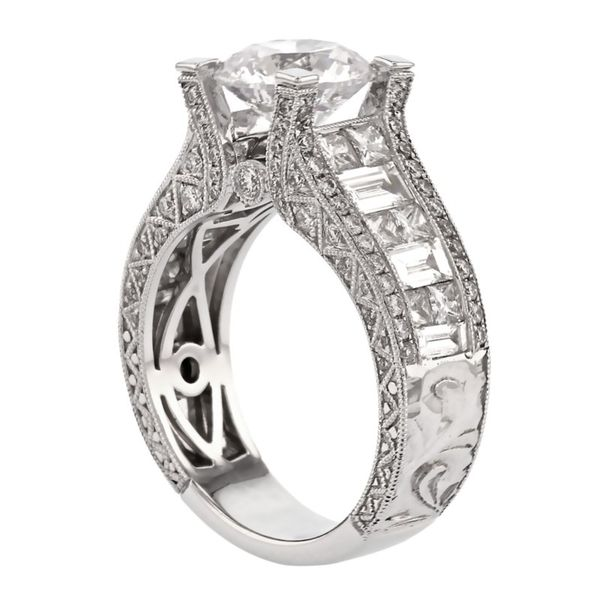 Bold Engraved Princess Cut Diamond Ring Image 3 Fox Fine Jewelry Ventura, CA