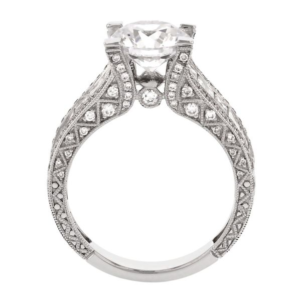 Bold Engraved Princess Cut Diamond Ring Image 4 Fox Fine Jewelry Ventura, CA