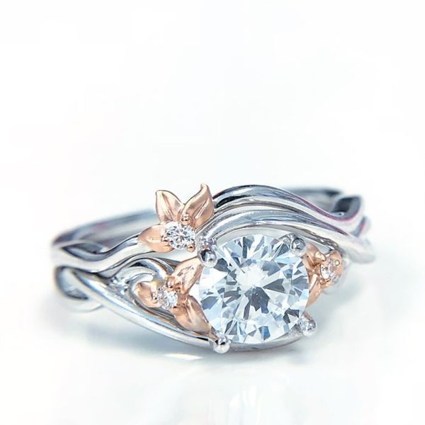 Two Tone Floral Diamond Engagement Ring Image 2 Fox Fine Jewelry Ventura, CA