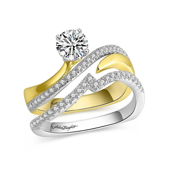 Asymmetrical Two Tone Diamond Engagement Ring Image 2 Fox Fine Jewelry Ventura, CA
