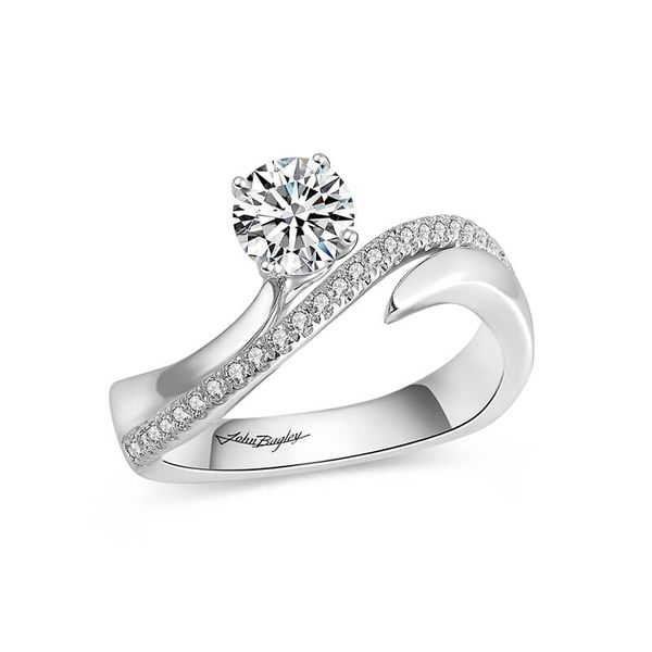 Asymmetrical Two Tone Diamond Engagement Ring Image 3 Fox Fine Jewelry Ventura, CA