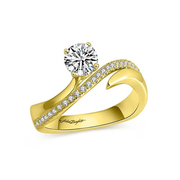 Asymmetrical Two Tone Diamond Engagement Ring Image 4 Fox Fine Jewelry Ventura, CA