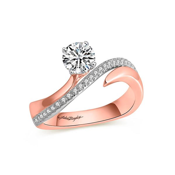 Asymmetrical Two Tone Diamond Engagement Ring Image 5 Fox Fine Jewelry Ventura, CA