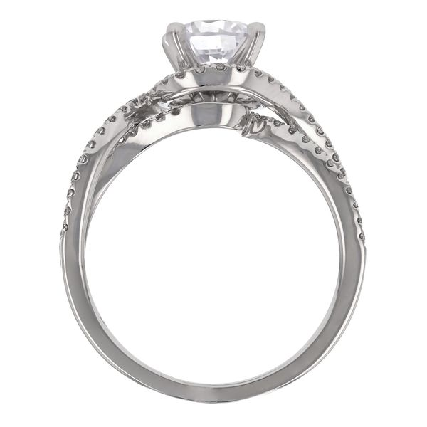 Open Twist Diamond Halo Engagement Ring Image 3 Fox Fine Jewelry Ventura, CA