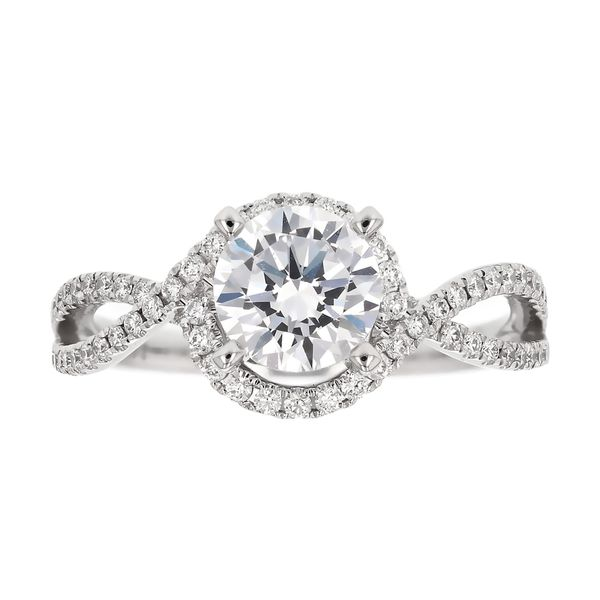 Open Twist Diamond Halo Engagement Ring Fox Fine Jewelry Ventura, CA