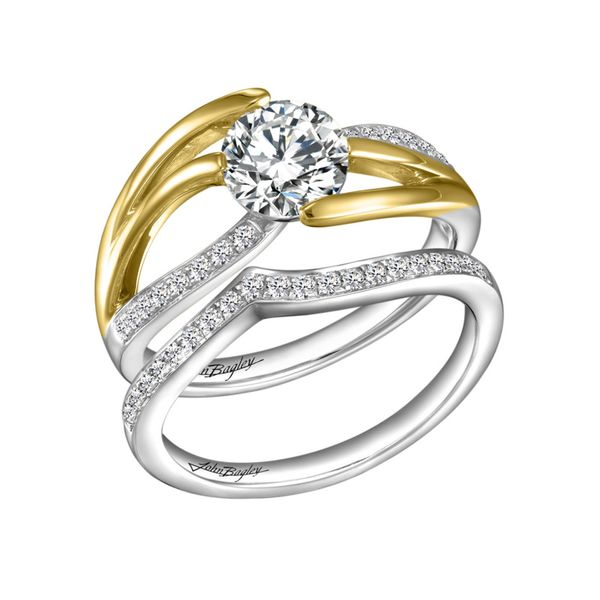 Dynamic Two Tone Diamond Engagement Ring Image 2 Fox Fine Jewelry Ventura, CA