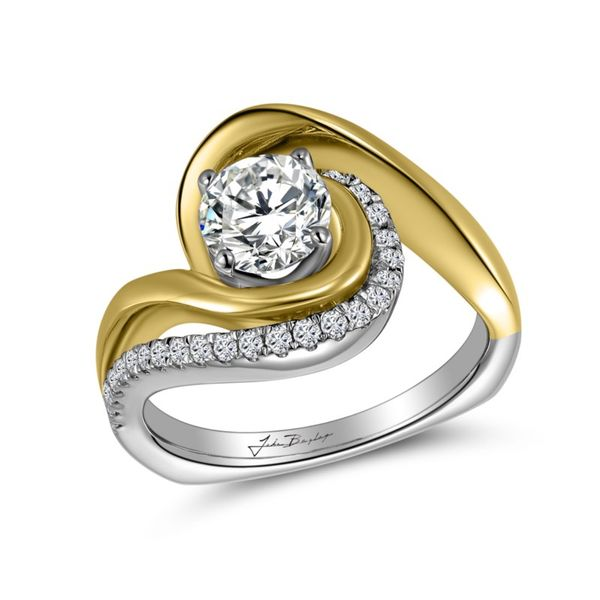 6e2d9ce563b5b Asymmetrical Two Tone Bypass Diamond Twist Engagement Ring