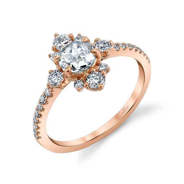 Rose Gold Rose Cut Vintage Halo Engagement Ring Fox Fine Jewelry Ventura, CA