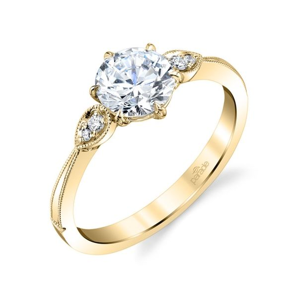 Yellow Gold Milgrain Leaf Diamond Engagement Ring Fox Fine Jewelry Ventura, CA