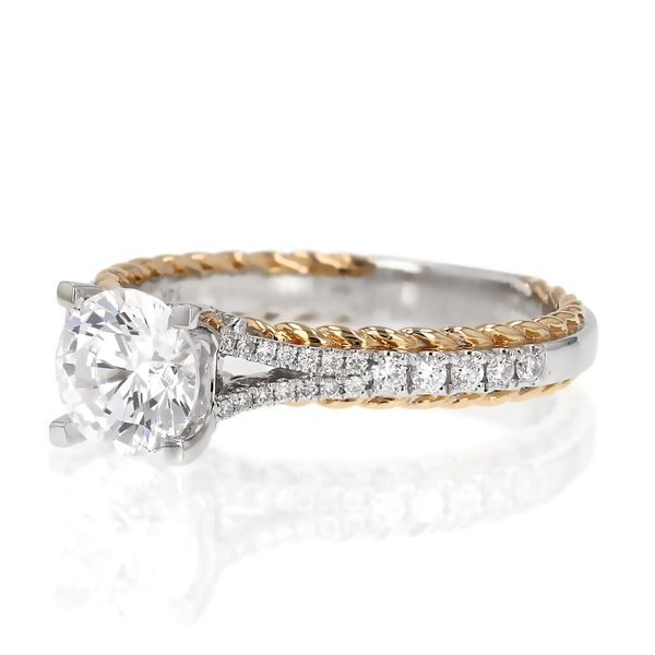 Two Tone Braided Edge Diamond Engagement Ring Image 2 Fox Fine Jewelry Ventura, CA