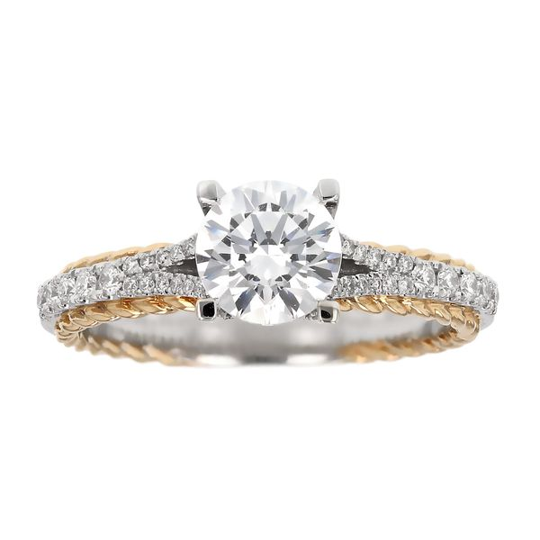Two Tone Braided Edge Diamond Engagement Ring Fox Fine Jewelry Ventura, CA