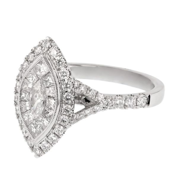 Marquis Diamond Double Halo Engagement Ring Image 2 Fox Fine Jewelry Ventura, CA