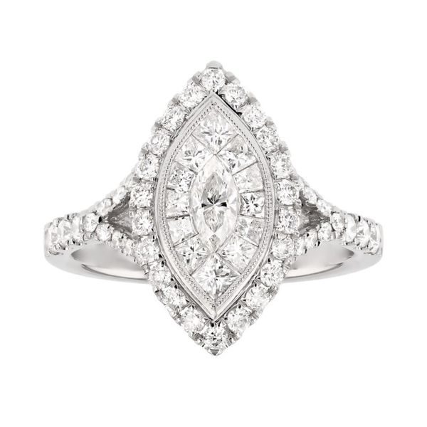 Marquis Diamond Double Halo Engagement Ring Fox Fine Jewelry Ventura, CA