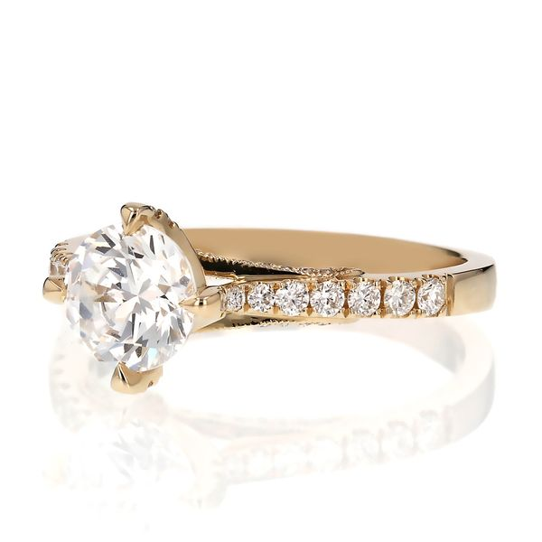 Yellow Gold Diamond Prong Engagement Ring Image 2 Fox Fine Jewelry Ventura, CA