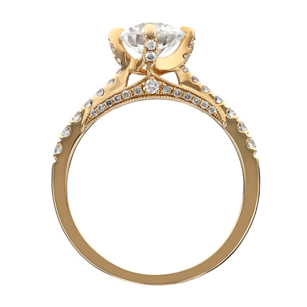 Yellow Gold Diamond Prong Engagement Ring Image 3 Fox Fine Jewelry Ventura, CA