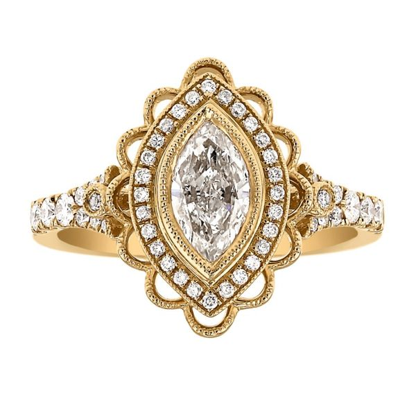 Marquise Diamond Scalloped Engagement Ring Fox Fine Jewelry Ventura, CA