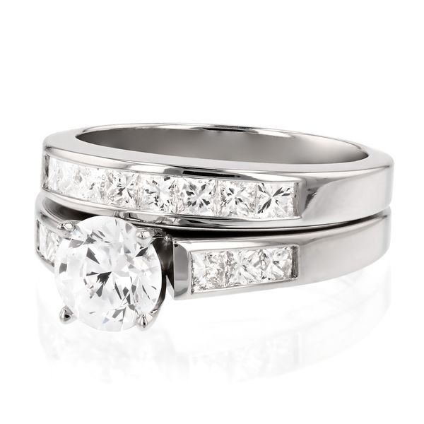 Channel Set Princess Cut Diamond Wedding Set Image 2 Fox Fine Jewelry Ventura, CA