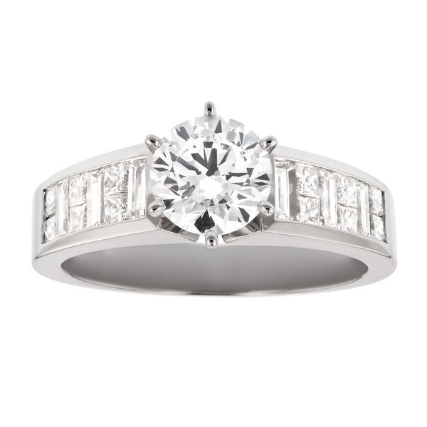 Alternating Baguette & Princess Cut Engagement Ring Fox Fine Jewelry Ventura, CA