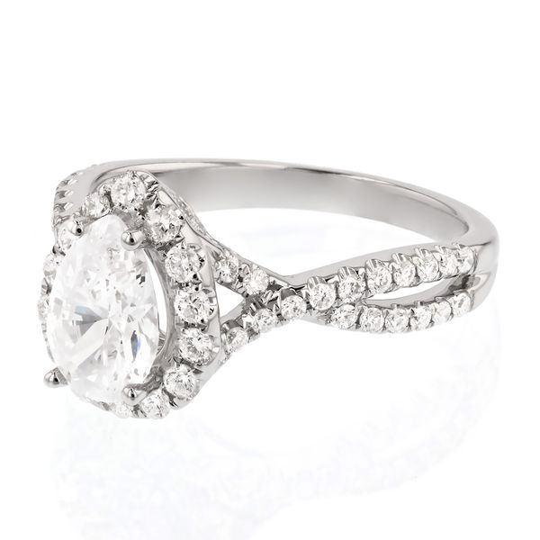 Twist Pear Halo Diamond Engagement Ring Image 2 Fox Fine Jewelry Ventura, CA