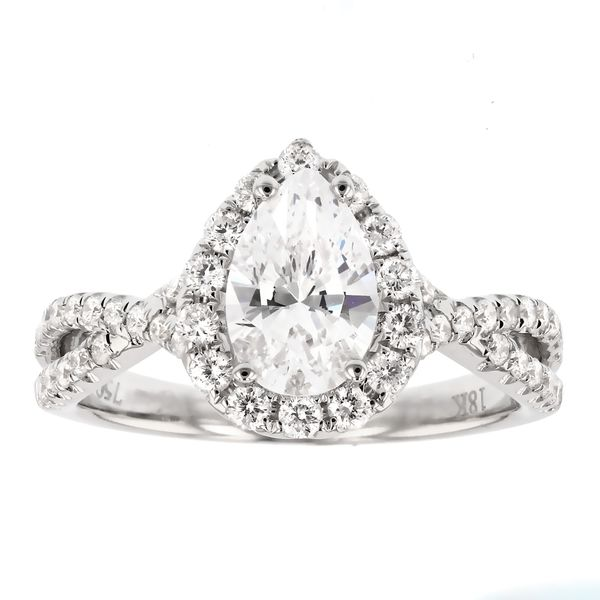 Twist Pear Halo Diamond Engagement Ring Fox Fine Jewelry Ventura, CA