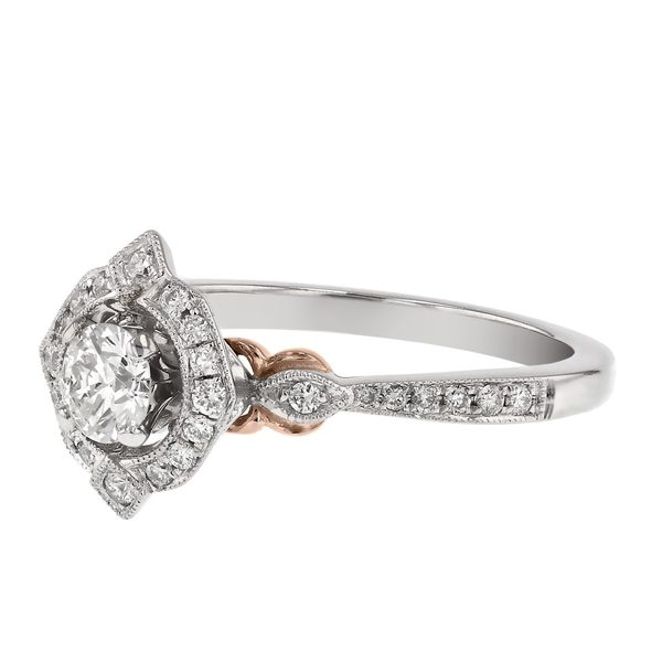 Fancy Diamond Halo Milgrain Engagement Ring Image 2 Fox Fine Jewelry Ventura, CA