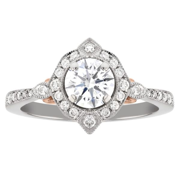 Fancy Diamond Halo Milgrain Engagement Ring Fox Fine Jewelry Ventura, CA