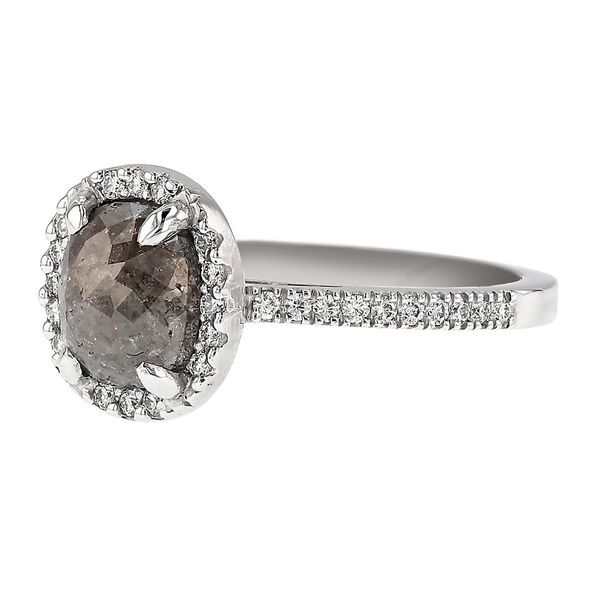 Cushion Halo Salt & Pepper Diamond Ring Image 2 Fox Fine Jewelry Ventura, CA