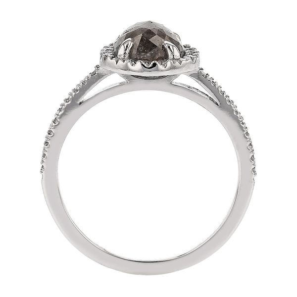 Cushion Halo Salt & Pepper Diamond Ring Image 3 Fox Fine Jewelry Ventura, CA