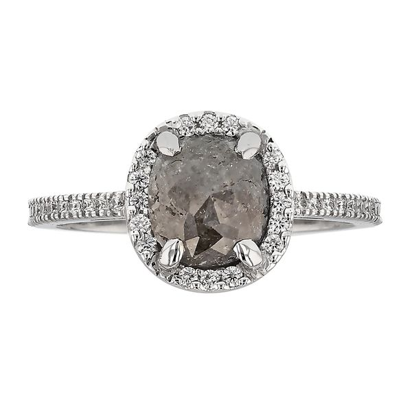 Cushion Halo Salt & Pepper Diamond Ring Fox Fine Jewelry Ventura, CA