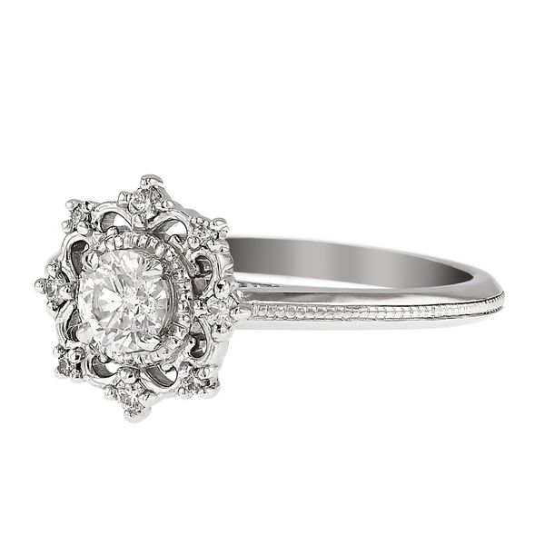 Vintage-Inspired Unique Lacey Halo Diamond Ring Side
