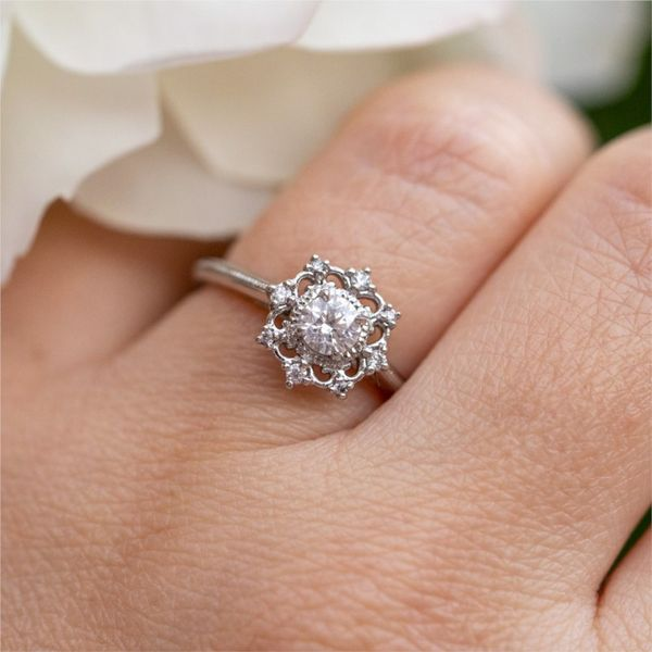 Scalloped Diamond Halo Engagement Ring Image 4 Fox Fine Jewelry Ventura, CA