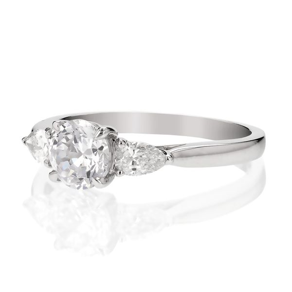 Three Stone Pear Diamond Engagement Ring Image 2 Fox Fine Jewelry Ventura, CA