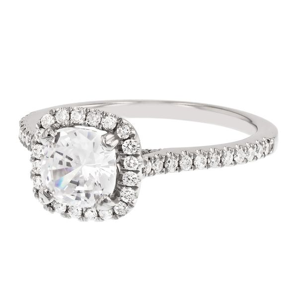Cushion Diamond Halo Engagement Ring Image 2 Fox Fine Jewelry Ventura, CA