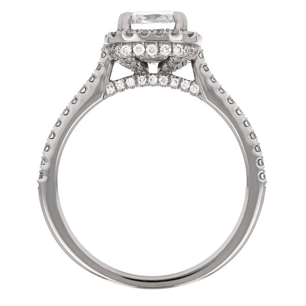 Cushion Diamond Halo Engagement Ring Image 3 Fox Fine Jewelry Ventura, CA