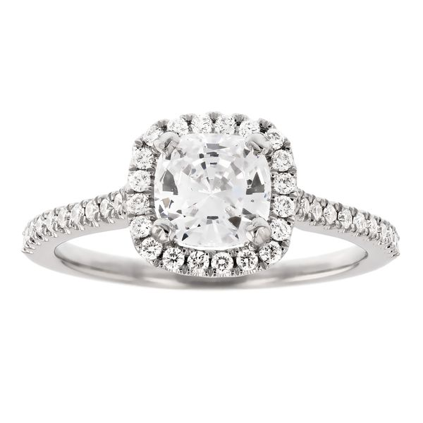 Cushion Diamond Halo Engagement Ring Fox Fine Jewelry Ventura, CA