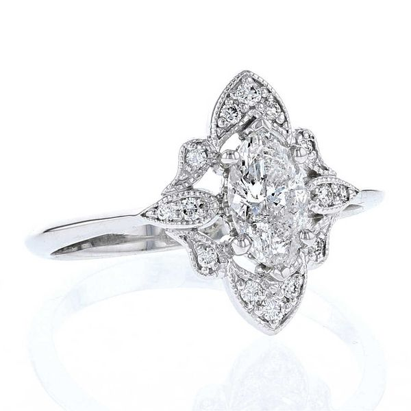 Vintage Style Marquise Diamond Engagement Ring Image 2 Fox Fine Jewelry Ventura, CA